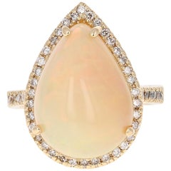 8.47 Carat Opal Diamond Yellow Gold Bridal Ring