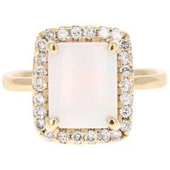 2.45 Carat Opal Diamond Yellow Gold Ring