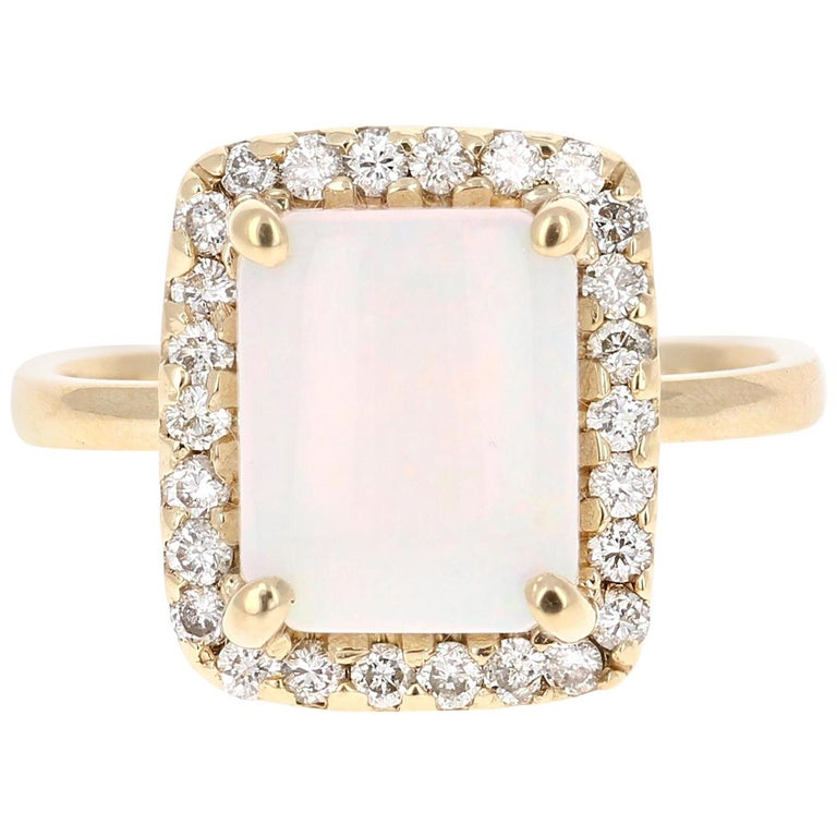 2.45 Carat Opal Diamond Yellow Gold Ring