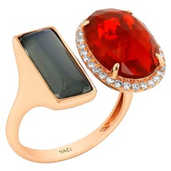 Yael Designs Fire Opal Moonstone Diamond and Rose Gold Ring