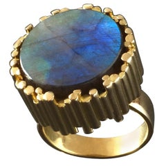 Stichnoth German Modernist Labradorite Gold Cocktail Ring