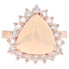4.56 Carat Opal Diamond Rose Gold Engagement Ring