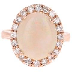 5.00 Carat Opal Diamond Rose Gold Engagement Ring