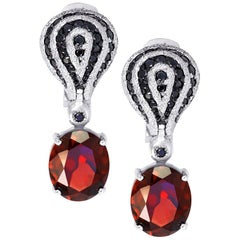 Alex Soldier Garnet Spinel White Gold Drop Textured Earrings One of a Kind