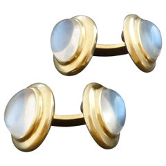 Weyersberg German Modernist Moonstone Gold Double Cufflinks, 1950s