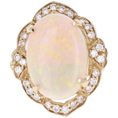 9.93 Carat Opal Diamond 14 Karat Yellow Gold Ring