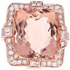 23.39 Carat Morganite Diamond 14 Karat Rose Gold Cocktail Ring