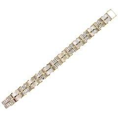 Two-Tone Yellow White Gold and Diamond Men's Bracelet