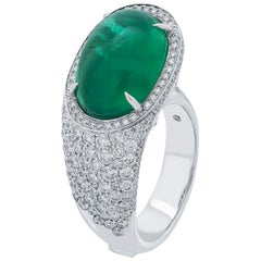 Coomi 18 Karat White Gold Emerald and Diamond Cocktail Ring