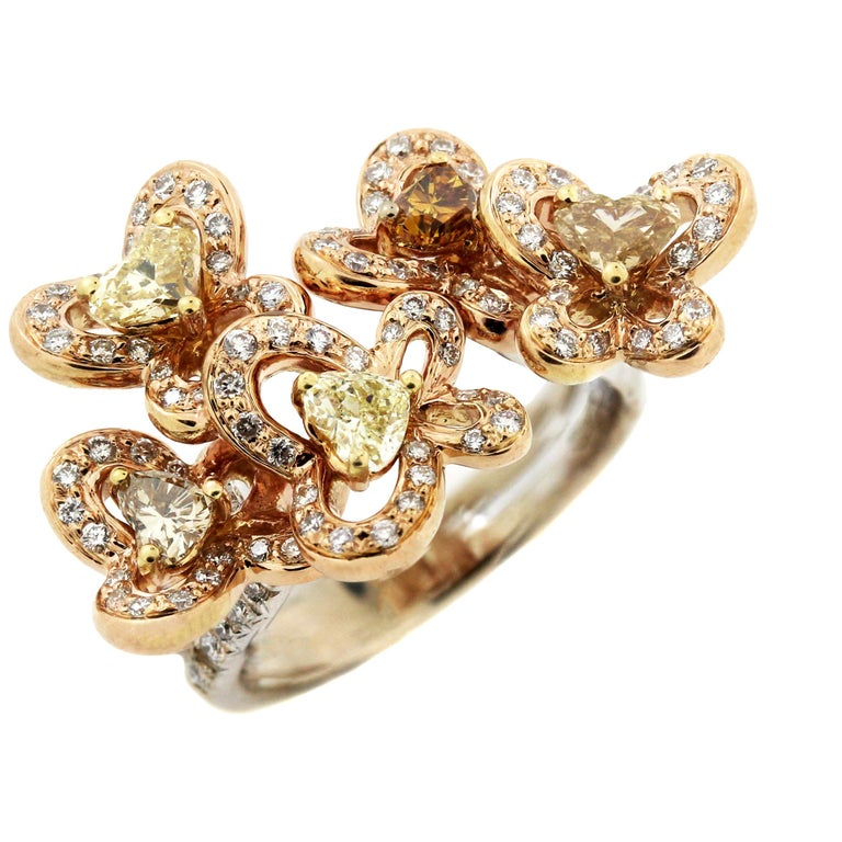 Rose White Gold Floral and Butterfly Ring with Heart Shape Diamonds
