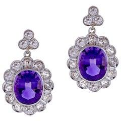 Antique Amethyst and Diamond Belle Époque Earrings