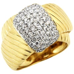 Yellow White Gold and Diamond Cross Over Ring