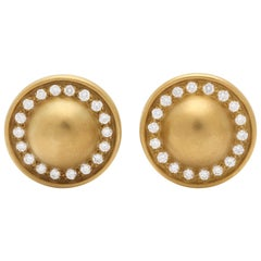 1980s Kieselstein-Cord Circular with Gold Ball Centre Diamond with Gold Earclips