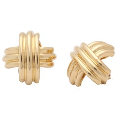 1980s Tiffany & Co. X Design Three Dimensional High Polish Ridged Gold Earrings