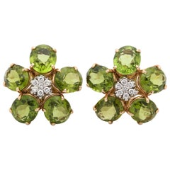 1960s Figural Floral Peridot with Diamond Centers Gold Clip on Earrings