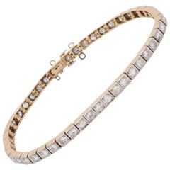 1920s Art Deco Highly Flexible Diamond Gold and Platinum Straightline Bracelet
