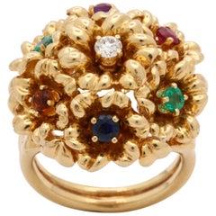 "1960s Dankner Multicolored Stones and Diamond ""Dearest"" Floral Design Gold Ring"