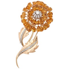 1940s Large and Dramatic Floral Citrine with Diamonds Gold Double Clip Brooch