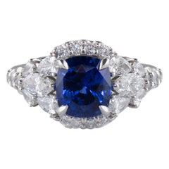 Dianna Rae Jewelry Platinum Cushion Blue Sapphire and Diamond Cocktail Ring