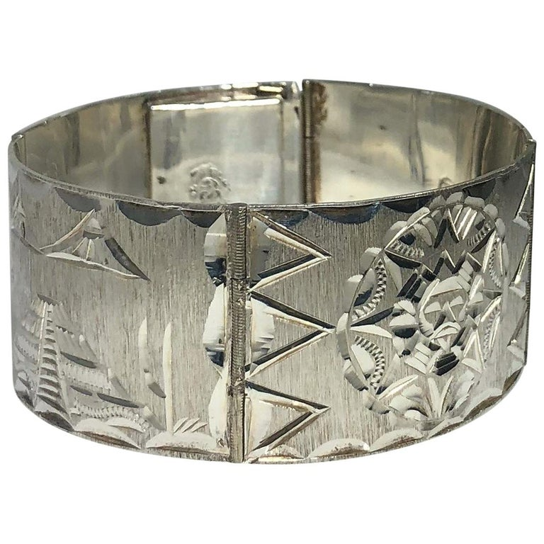 Vintage Mexican Mayan Sterling Silver Hand Engraved Cuff Bracelet