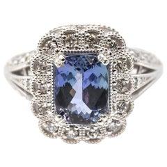 1.78 Carat Tanzanite and Diamond 14 Karat White Gold Ring