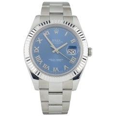 Rolex Datejust II 116334 Stainless Steel Men's Watch Blue Roman Dial Watch