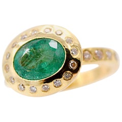 Tsavorite Garnet and White Diamond Cocktail Ring in 18 Karat Yellow Gold