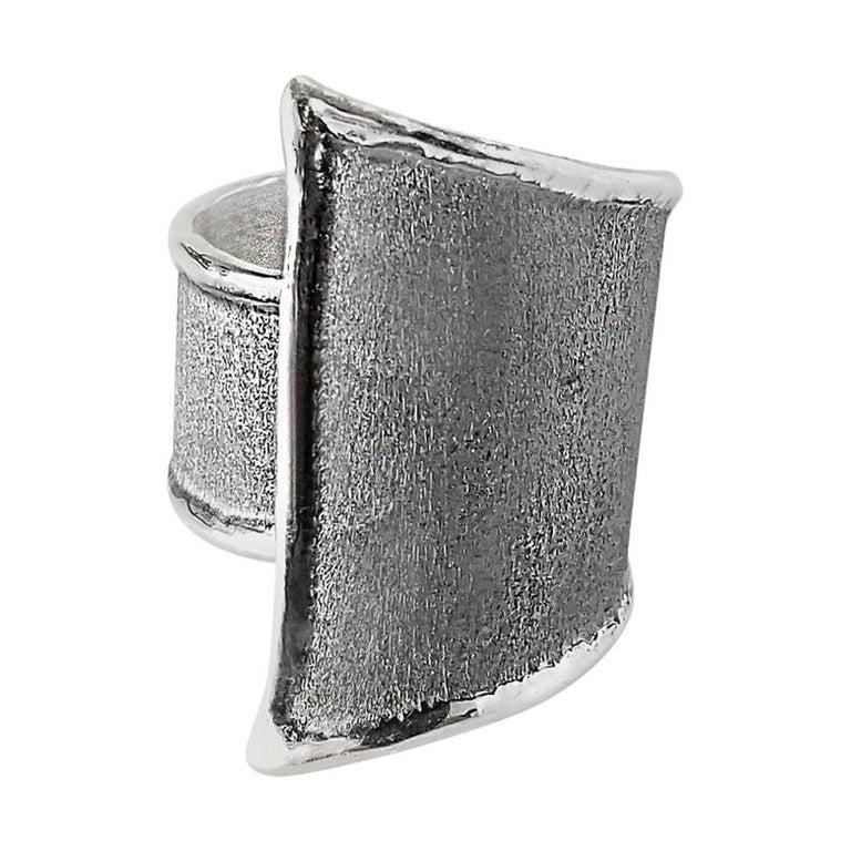 Yianni Creations Geometric Fine Silver and Oxidized Rhodium Artisan Ring