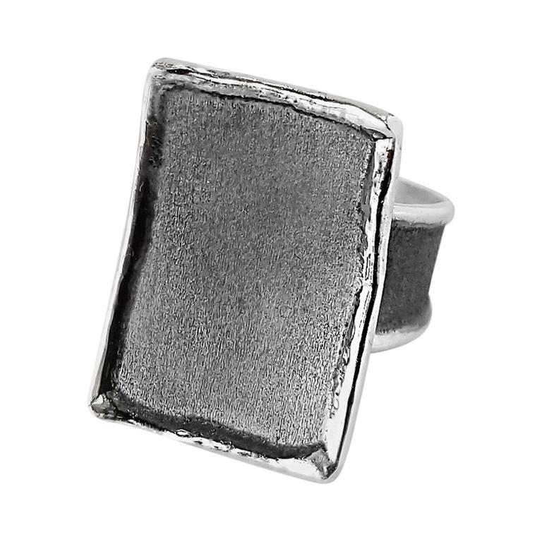 Yianni Creations Rectangular Fine Silver and Oxidized Rhodium Artisan Ring
