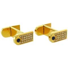 Boucheron Diamond Sapphire Yellow Gold Cufflinks, 1980s
