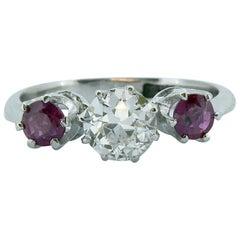 Mid-20th Century Ruby Diamond Three-Stone Engagement Ring