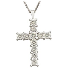 Contemporary 2008 1.65Ct Diamond and White Gold Cross Pendant