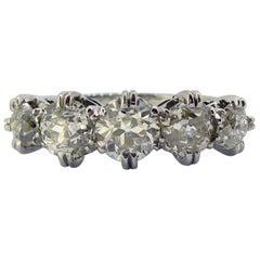 Vintage 1.71 Carat Old European Cut Diamond Five-Stone Ring