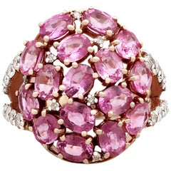 Contemporary 3.99Ct Pink Sapphire and Diamond Yellow Gold Cocktail Ring