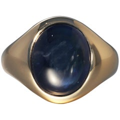 Robert Vogelsang 13.22 Carat Blue Sapphire Cabochon Rose Gold Ring