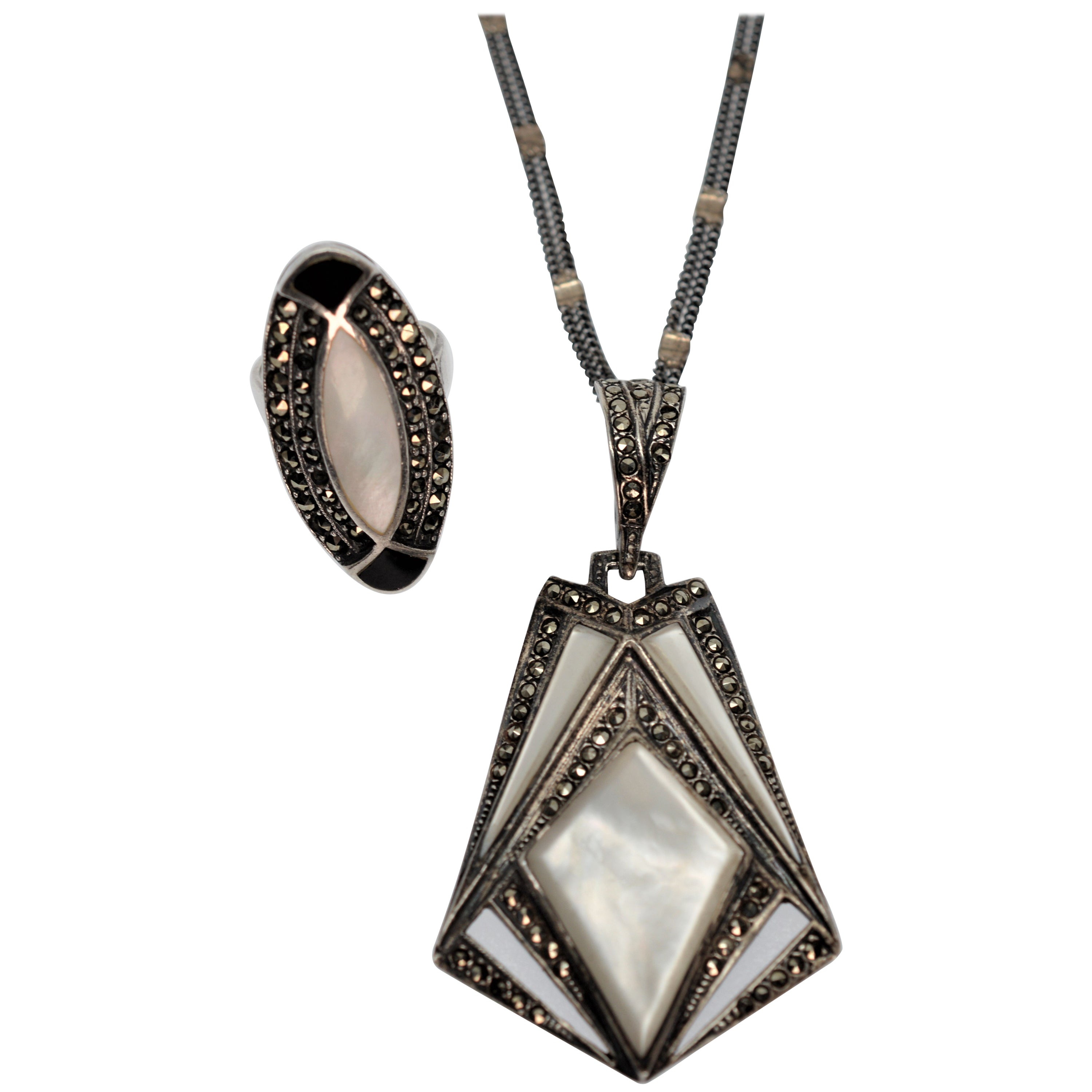Vintage Sterling Silver, Marcasite, Mother of Pearl Pendant Necklace & Ring
