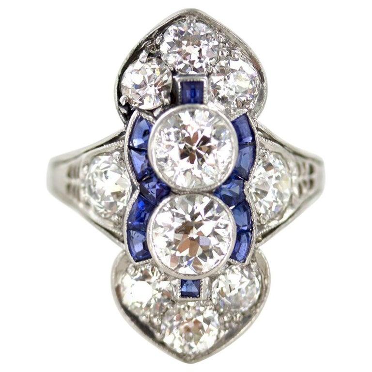 Art Deco Diamond Platinum Original Cocktail Ring