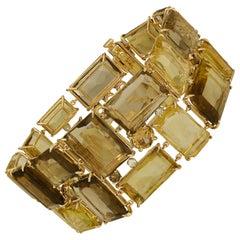 186 Carat Smoky Quartz, Citrine, and Diamond Bracelet