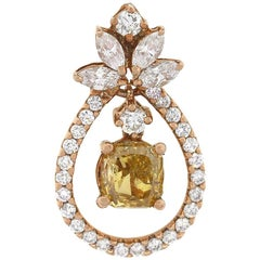 GIA Certified Fancy Deep Brownish Cushion Cut Diamond Pendant