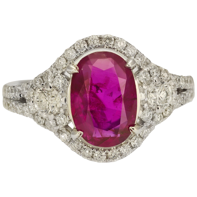 GIA Certified 1.67 Carat No Heat Burma Ruby Ring