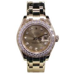 Rolex Pearlmaster Masterpiece 80298 18 Karat Gold Diamond Dial Bezel Box Paper