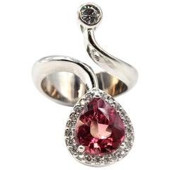 3.75 Carat Pink Tourmaline and Diamond 14 Karat White Gold Cocktail Ring