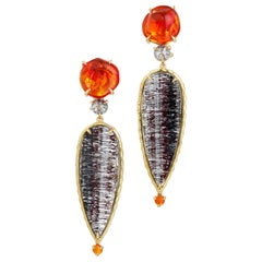 Orange Jelly Opal, Rose Cut Diamond, Hematite Rutile Quartz Earrings