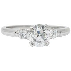 Retro 1.09 Carat Diamond Platinum Engagement Alternative Ring GIA