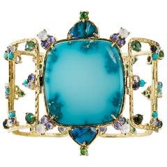 Nevada Turquoise, Black Opal, Tourmaline, Moonstone, Iolite Openwork Bracelet