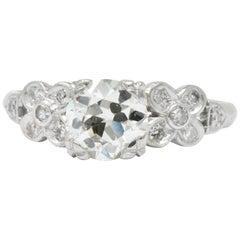 1940s 1.21 Carat Diamond Platinum Engagement Alternative Ring GIA