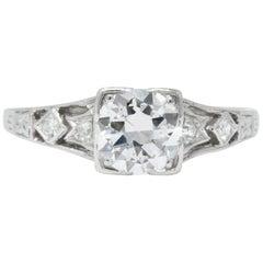 Art Deco 0.84 Carat Diamond Platinum Engagement Alternative Ring GIA
