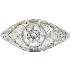 Art Deco 1.25 Carat Diamond Platinum Engagement Ring GIA
