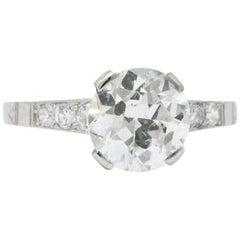 Art Deco 1.83 Carat Diamond Platinum Engagement Ring GIA