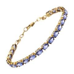 2.31 Carat Tanzanite 10 Karat Yellow Gold Bracelet